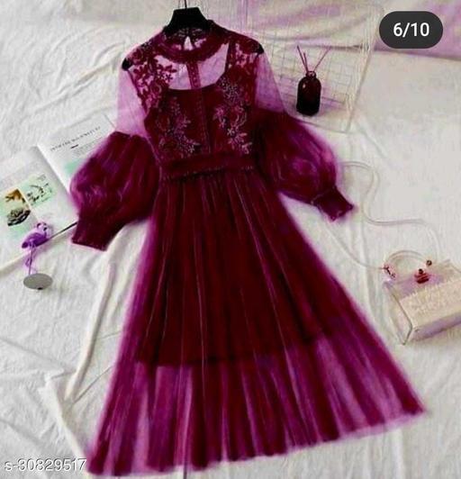 Women Lace Flowers Dream Gauze Dress Temperament Collar Lantern Sleeve Dress
