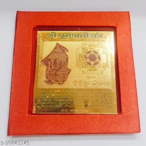 KESAR  ZEMS Golden Plated Dhumavati Yantra  (7.5 X 7.5 X 0.01 CM) Golden