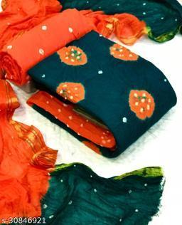 Gomore Fashion Cotton Bandhni with Jecard Big Border top and Cotton print with Cotton with Banarasi Border