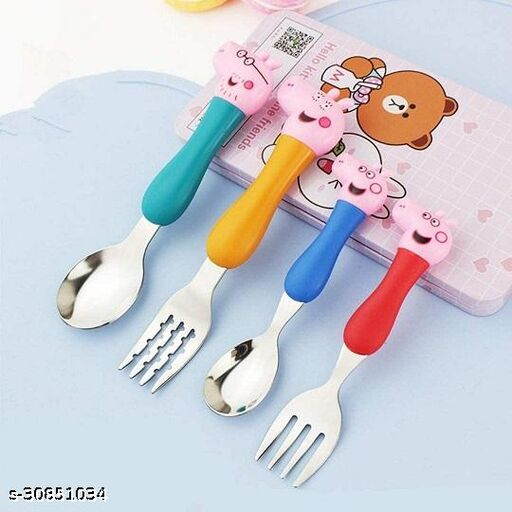 Editrix Peppa Pig Cutlery For kids (Set of 4 Includes 2 Forks & 2 Spoon)