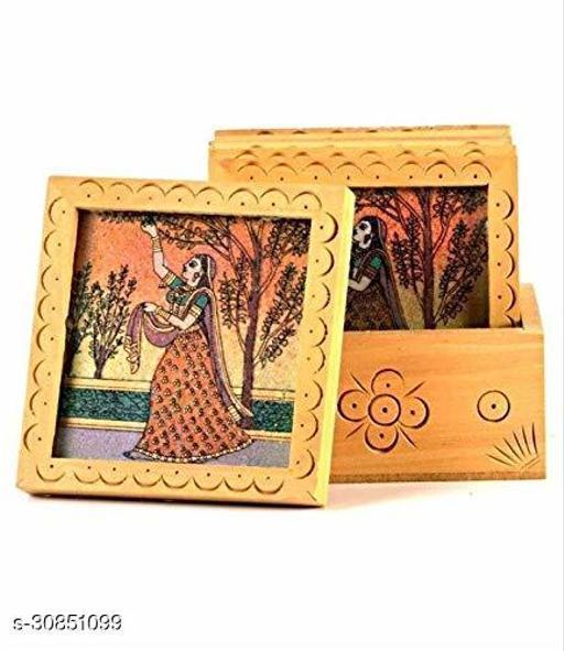 Gemstone Pine Wood Multicolor Antique Ragini Plucking Flower Tea Coffee Coaster Set - Home & Décor 2