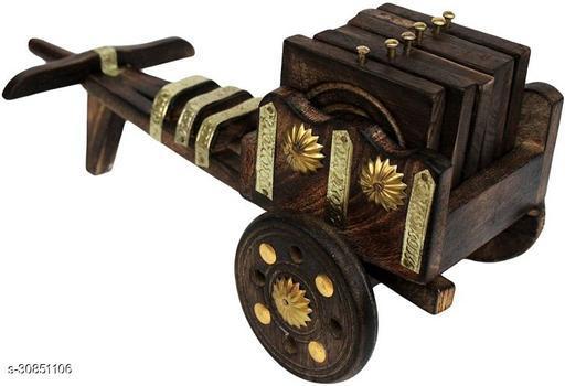 Wooden Antique Beautiful Bullock Cart Shaped Tea Coffee Coaster Set - Home Decor