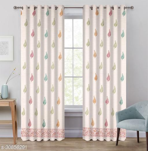 Jewear Cotton slub Hand Block Print Self-Design Multicolor Curtains Pack of 2