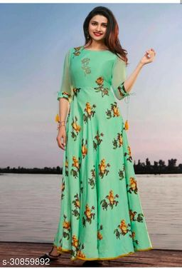 Demanding Green  Colored Party Wear  Gown