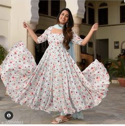 Demanding White  Colored Party Wear  Gown With Dupatta