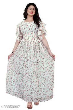 Demanding White Colored Party Wear  Gown