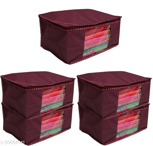 Trendy Spun Bonded Non-Woven Printed Saree Covers Maroon Saree ( Pack Of 5 )