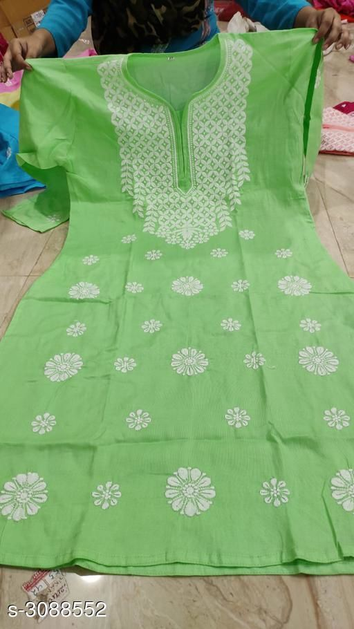 Kurtis & Kurtas Women's Chikankari Cotton Kurti  *Fabric* Cotton  *Sleeves* Sleeves Are Included  *Size* Up To 38 in To 44 in  *Length* Up To 46 in  *Type* Stitched  *Description* It Has 1 Piece Of Women's Kurti  *Work* Chikankari  *Sizes Available* 38, 40, 42, 44, 46, 48 *    Catalog Name: Women's Chikankari Cotton Kurtis CatalogID_423234 C74-SC1001 Code: 885-3088552-