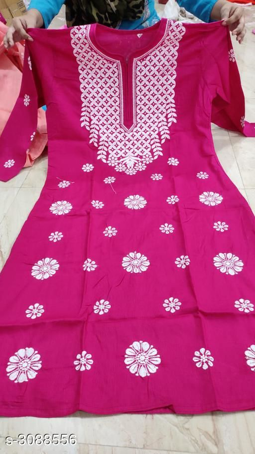 Kurtis & Kurtas Women's Chikankari Cotton Kurti  *Fabric* Cotton  *Sleeves* Sleeves Are Included  *Size* Up To 38 in To 44 in  *Length* Up To 46 in  *Type* Stitched  *Description* It Has 1 Piece Of Women's Kurti  *Work* Chikankari  *Sizes Available* 50, 38, 40, 42, 44, 46, 48 *    Catalog Name: Women's Chikankari Cotton Kurtis CatalogID_423234 C74-SC1001 Code: 885-3088556-
