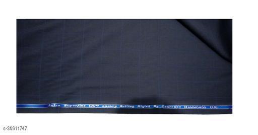 Geoffrey Hammond Men's Wool Unstitched Suit Fabric | (Dark Grey Colour, 1.5 Meter, Free Size Fabric)