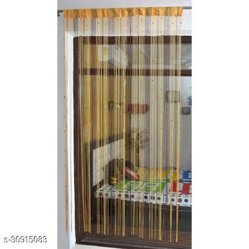 Kachvi Single  Door Semi-Transparent Rod Pocket Thread Yarn Polyester String  Door Curtain 7 Feet Pack of 1, (Coffee Yellow)