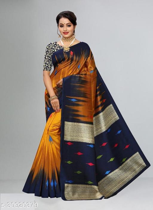 Attractive Litchi Silk Casual Printed Saree