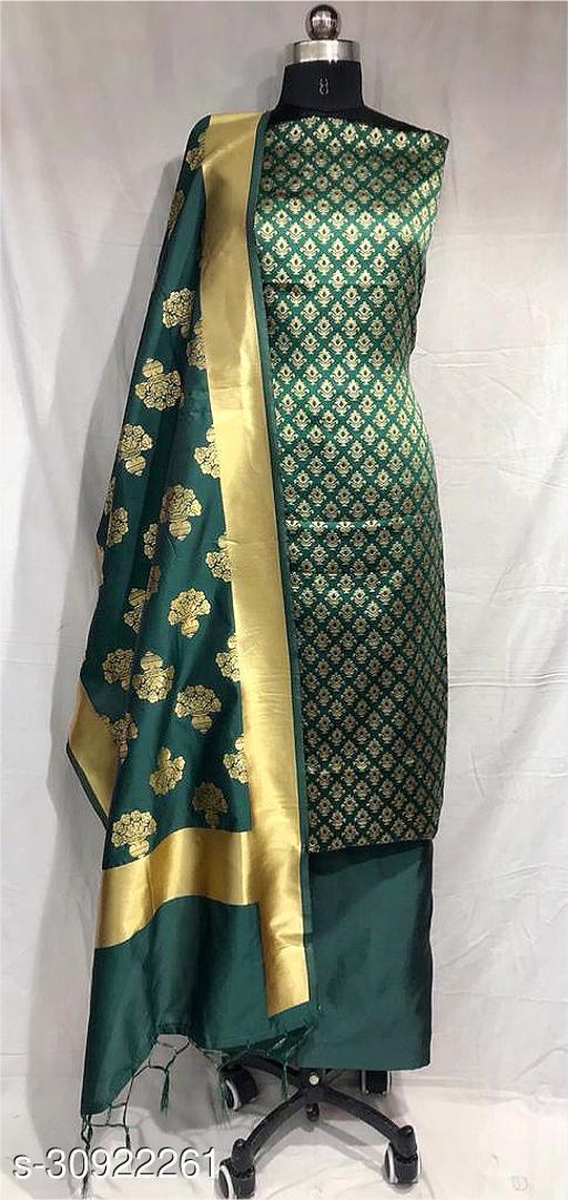 SERONA FABRICS Women's Banarasi Silk With Jacquard Print heavy duppatra Exclusive Dress Material