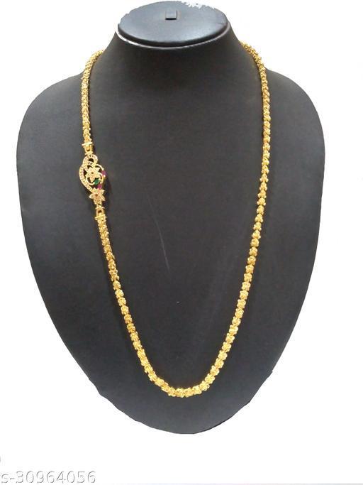 Glory Jewels American Diamond Gold Plated Mugappu Chain For Women and Girls
