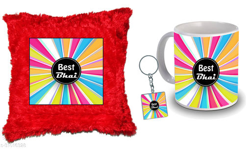 """Birthday,Anniversary,Gift for Sister, Wife, Brother, Mother, Dad special Gifted Mug, Far cusion 14X14"""" with fillER, 1 Printed Key Ring best gift for sister birthday New Trendy High Quality Multicolor Ceramic Gifted Mug (330 ml) MKC 296"""