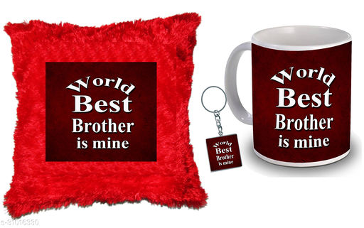 """Birthday,Anniversary,Gift for Sister, Wife, Brother, Mother, Dad special Gifted Mug, Far cusion 14X14"""" with fillER, 1 Printed Key Ring best gift for sister birthday New Trendy High Quality Multicolor Ceramic Gifted Mug (330 ml) MKC 299"""