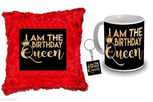 """Birthday,Anniversary,Gift for Sister, Wife, Brother, Mother, Dad special Gifted Mug, Far cusion 14X14"""" with fillER, 1 Printed Key Ring best gift for sister birthday New Trendy High Quality Multicolor Ceramic Gifted Mug (330 ml) MKC 379"""