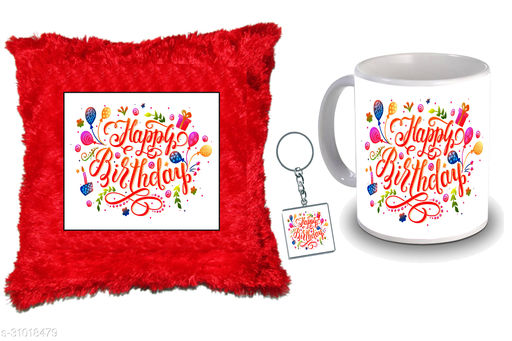 """Birthday,Anniversary,Gift for Sister, Wife, Brother, Mother, Dad special Gifted Mug, Far cusion 14X14"""" with fillER, 1 Printed Key Ring best gift for sister birthday New Trendy High Quality Multicolor Ceramic Gifted Mug (330 ml) MKC 376"""