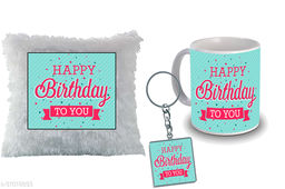 """Birthday,Anniversary,Gift for Sister, Wife, Brother, Mother, Dad special Gifted Mug, Far cusion 14X14"""" with fillER, 1 Printed Key Ring best gift for sister birthday New Trendy High Quality Multicolor Ceramic Gifted Mug (330 ml) MKC 335"""