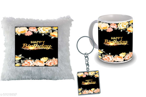 """Birthday,Anniversary,Gift for Sister, Wife, Brother, Mother, Dad special Gifted Mug, Far cusion 14X14"""" with fillER, 1 Printed Key Ring best gift for sister birthday New Trendy High Quality Multicolor Ceramic Gifted Mug (330 ml) MKC 332"""