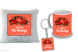 """Birthday,Anniversary,Gift for Sister, Wife, Brother, Mother, Dad special Gifted Mug, Far cusion 14X14"""" with fillER, 1 Printed Key Ring best gift for sister birthday New Trendy High Quality Multicolor Ceramic Gifted Mug (330 ml) MKC 334"""
