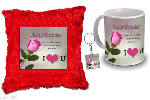"""Birthday,Anniversary,Gift for Sister, Wife, Brother, Mother, Dad special Gifted Mug, Far cusion 14X14"""" with fillER, 1 Printed Key Ring best gift for sister birthday New Trendy High Quality Multicolor Ceramic Gifted Mug (330 ml) MKC 352"""