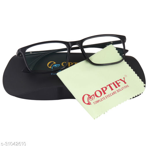 Optify® Square Unisex Blue Cut Spectacles With Anti-glare for Eye Protection (Zero Power, Black)