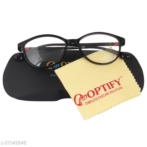 Optify® Cateye Unisex Blue Cut Spectacles With Anti-glare for Eye Protection (Zero Power, Black)