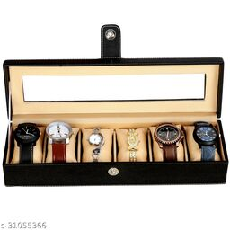 Hard Craft Storage Watch Box Organizer   Smart Watch Holder   Watch Display  Gift Box of Faux Leather Transparent Box for 6 watch Slots