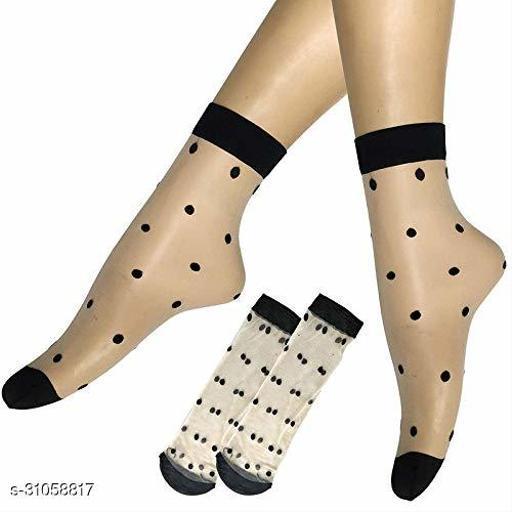 Ekshi Women's Ultra-Thin Transparent Net Styled Elastic Short Ankle Socks - Beige - 1 Pairs