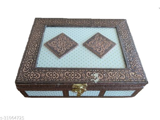 Handicrafts Handmade Wooden Jewellery Box for Women Wood Jewel Organizer Hand Carved with Intricate Carvings