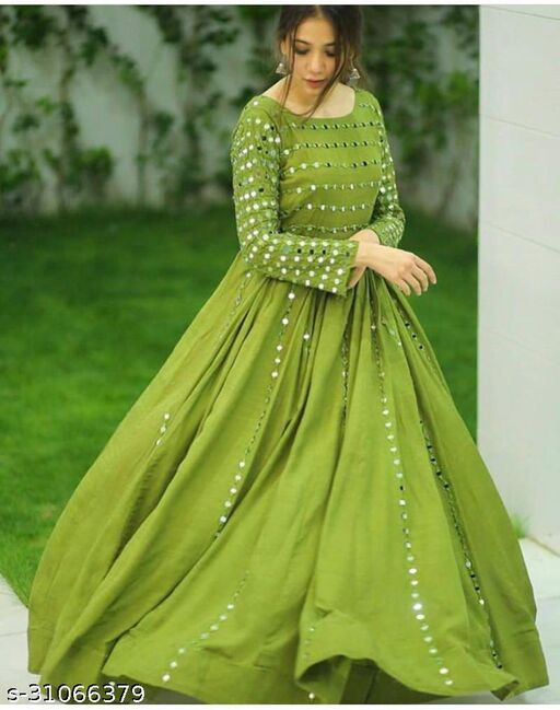 Embroidery With Real Mirror Work Green Color Gown