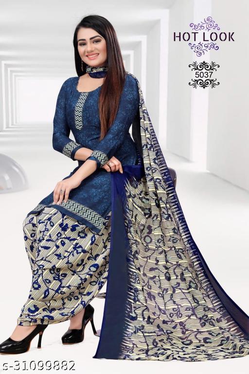 Anny Deziner Women's Blue  Crepe Printed Unstitched Salwar Suit Dress Material (Free Size)
