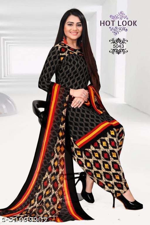 Anny Deziner Women's Black  Crepe Printed Unstitched Salwar Suit Dress Material (Free Size)