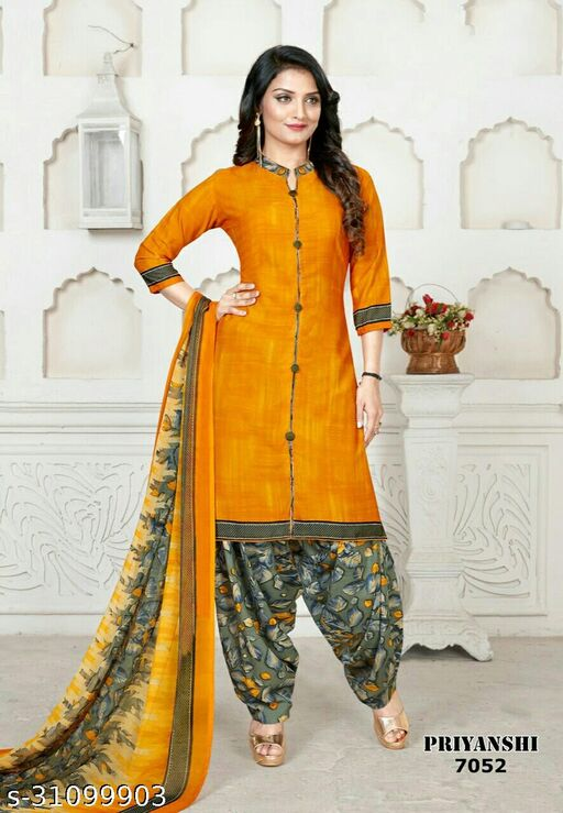 Anny Deziner Women's Yellow Crepe Printed Unstitched Salwar Suit Dress Material (Free Size)