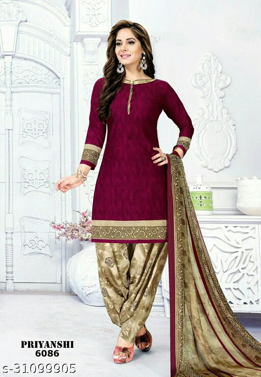 Anny Deziner Women's  Crepe Printed Unstitched Salwar Suit Dress Material (Free Size)
