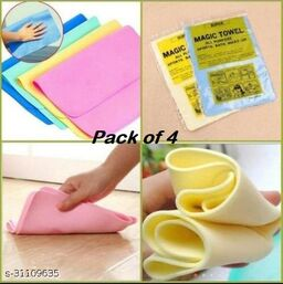 Editrix Magic Reusable Water Absorbent for Kitchen/ Car Cleaning Color (Pack of 4)