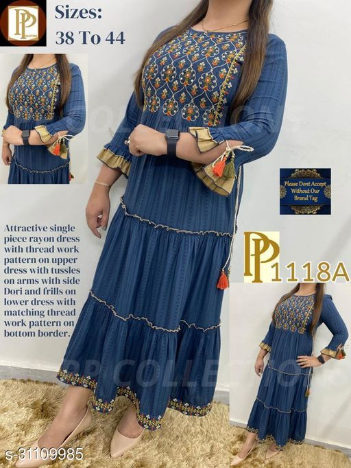 Beautiful Embroidered Blue Color Kurti With Frills Sleeves