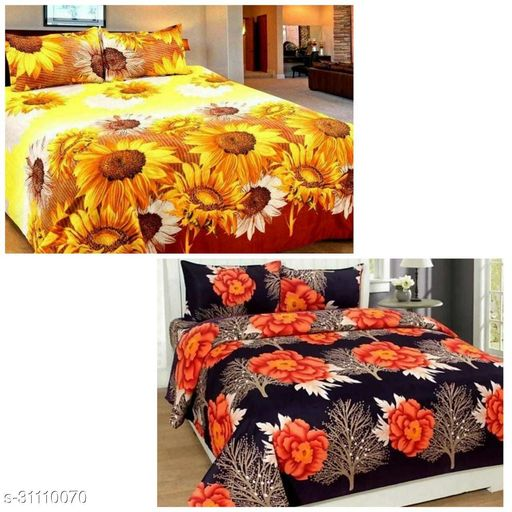 KART KINGDOM INDIAN GLACE COTTON 2 DOUBLE BEDSHEETS SIZE(90*90) WITH 2 PILLOW COVERS SIZE(27*17)