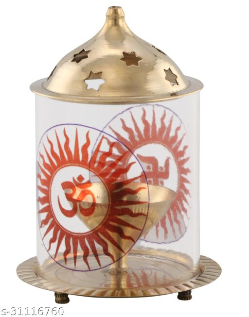 GnS  Pure Brass Akhand Diya Tea Light Holder Decorative Lantern Diwali Gifts Home Decor Puja Lamp with Borosilicate Glass Cover (Size: 5x3inch)(Pack of 1)