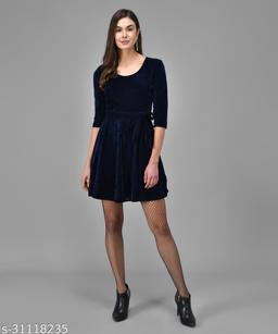 Vaararo Women Blue Valvet Stylish Round Neck Dress