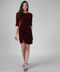 Vaararo Women Maroon Valvet Bodycone Dress 2.0