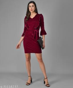 Vaararo Women Purple Valvet Stylish Dress