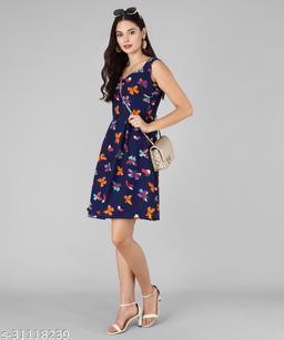 Vaararo Women Blue Butterfly Dress