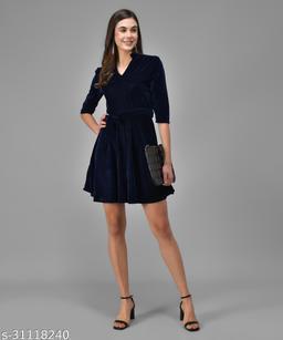 Vaararo Women Blue Valvet Stylish Dress
