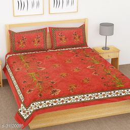 Jaipuri printed cotton double bedsheet with 2 pillow covers