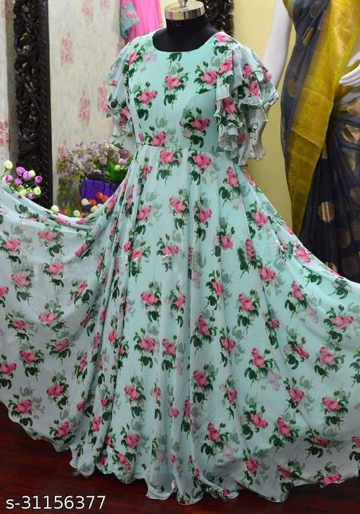 Urbane Elegant Women   Georgette Gowns