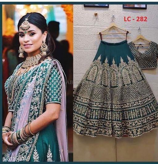 Drasty Green Embroidered Attractive Party Wear Malay satin Material With Stone work Lehenga LC 282