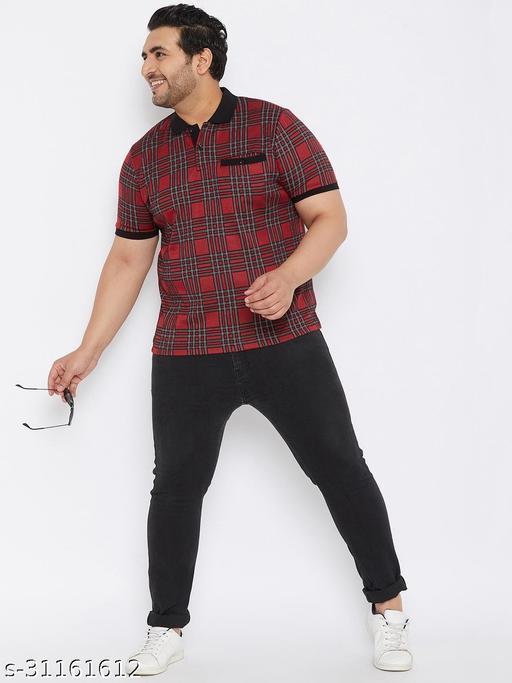 Austivo Men's Maroon Half Polo Neck T-Shirt