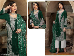 Krishna Tex Green Fox Georgette With Embroidery Work With Sequence Suit